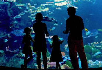 Silhouettes of family in oceanarium looking at aquarium