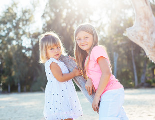 Adorable young sisters
