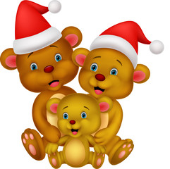 Bear cartoon family wearing red hat