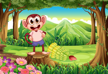 A smiling monkey above the stump with bananas at the back