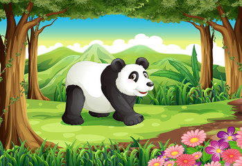 A big panda bear at the forest