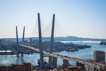 Vladivostok, bridge. Daylight view. Winter.