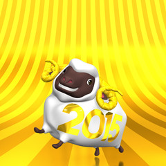 Front View Of 2015 White Sheep On Golden Text Space