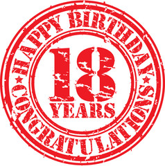 Happy birthday 18 years grunge rubber stamp, vector illustration