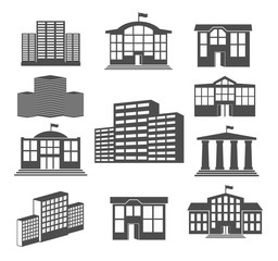 House icon set. Business buildings