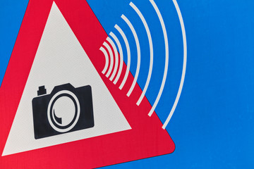Dutch traffic sign with speed camera warning