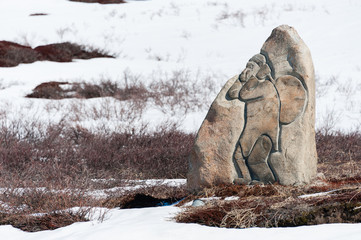 Eskimo Inuit Stone Carving near Sisimiut Airport, Greenland.