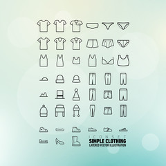 Simple Clothing Icons Set | Layered Vector Illustration | EPS10