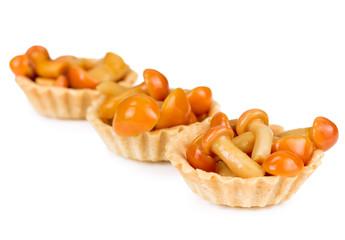 Tartlet with mushrooms honey agarics