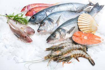 Seafood on ice Wall mural