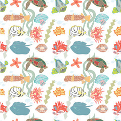 Seamless background with colorful sea creatures