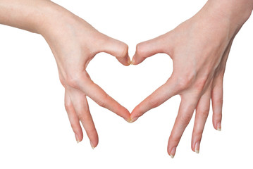 Women making a heart sign with hands isolated on white
