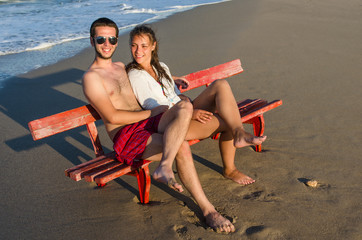 couple on the bench at the seaside