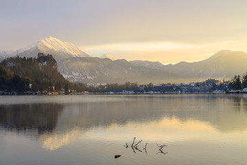 Poster Cappuccino Sunrise on the Bled Lake