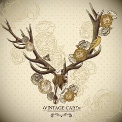 Vintage floral background with a deer skull