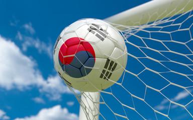 South Korea flag and soccer ball in goal net