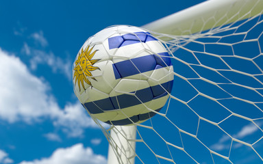 Uruguay flag and soccer ball in goal net