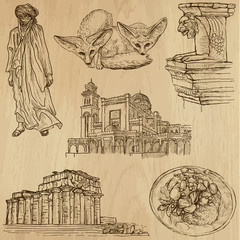 LIBYA_1. Collection of hand drawn illustrations into vector