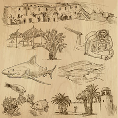 TUNISIA_1. Collection of hand drawn illustrations into vector