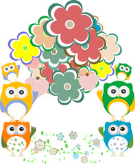 owls, birds, flowers, cloud and love heart