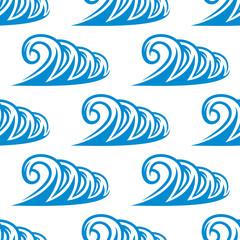 Seamless pattern of curling blue ocean waves