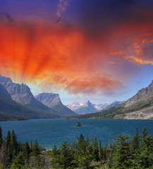 Goose Island Sunset - Clearing storm clouds reveal the mountain