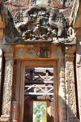 Ancient Khmer carving  at the Hindu temple of Banteay Samre
