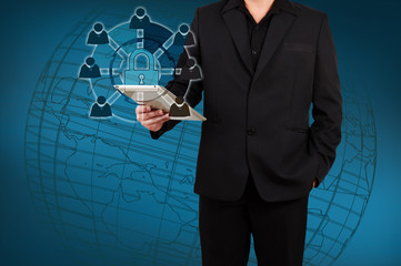 Wall Mural - businessman showing a concept of online security.