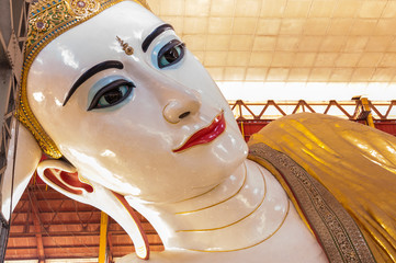 Chaukhtatgyi Paya, reclining Buddha in Yangon, Myanmar.