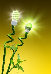 Wall Mural - concept of efficiency on lighting - flash vs LED lamp
