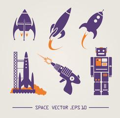 Vector space items. Rocket, robot, lasergun