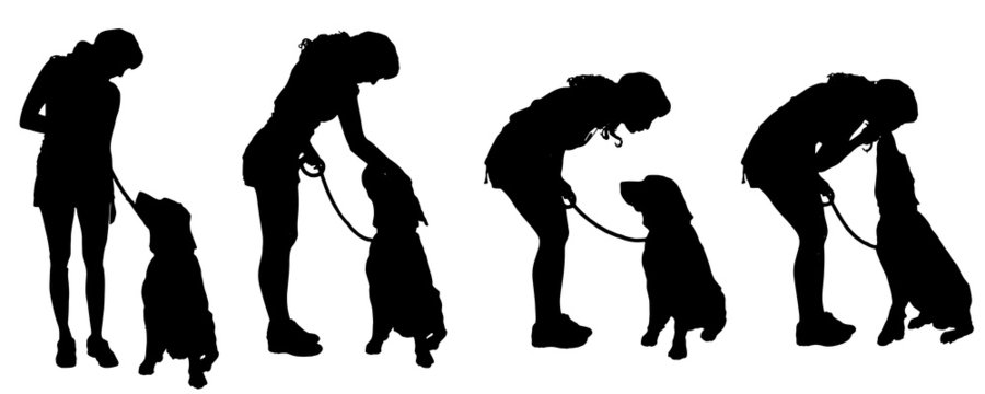 Vector silhouette of a woman with a dog.