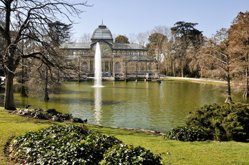 Retiro Park, Crystal Palace as background, Madrid (Spain)