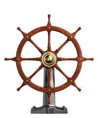 Ship Steering Wheel isolated on white