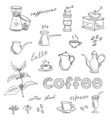 coffee and tea vector set