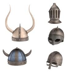 realistic 3d render of helmets