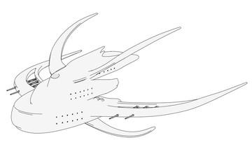 cartoon image of space ship