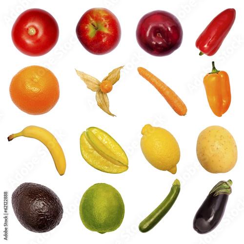 Verschiedenes Obst und Gemüse, freigestellt\