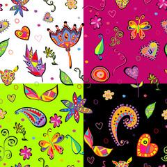 seamless set multicolored flower pattern.