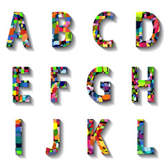 Multicolored Carnival Alphabet with Numbers