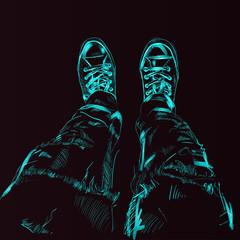 Legs in gumshoes. Vector.
