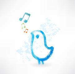 Bird singing grunge icon