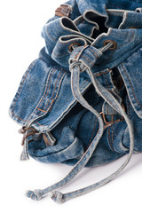 Jean backpack closeup on white
