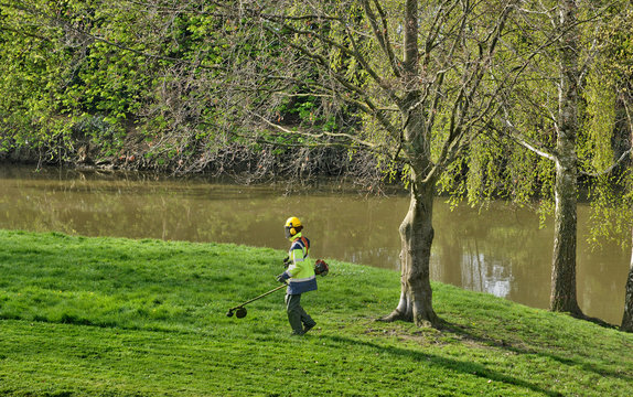 France, a gardener with a strimmer in a park