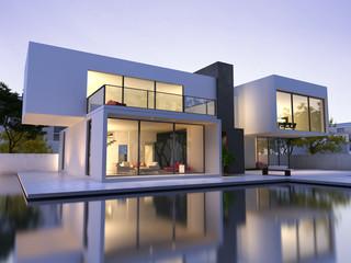 Obraz Modern house with pool - fototapety do salonu