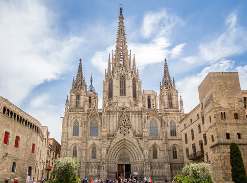 Facade of Barcelona gothic cathedral, in Spain