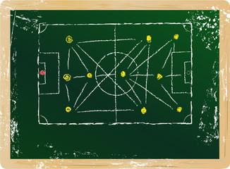 soccer / football tactics diagram, vector, free copy space
