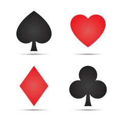 Playing card symbols isolated on white background