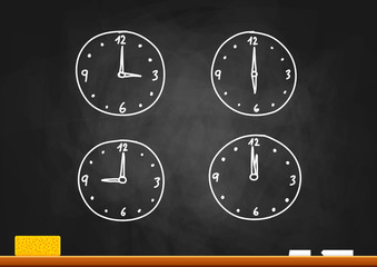 Clock drawing on blackboard