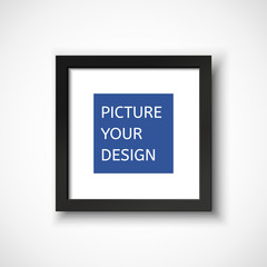 Black frame on the wall for your design.